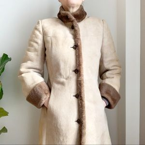 Vtg Montreal Leather Garment Shearling Coat Tan 8